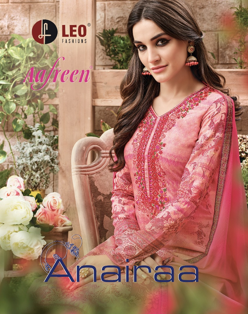 LEO FASHION ANAIRAA COTTON DIGITAL PRINT EMBROIDERY SUITS WHOLESALE PRICE IN SURAT INDIA JPTEXTLES RS 1185