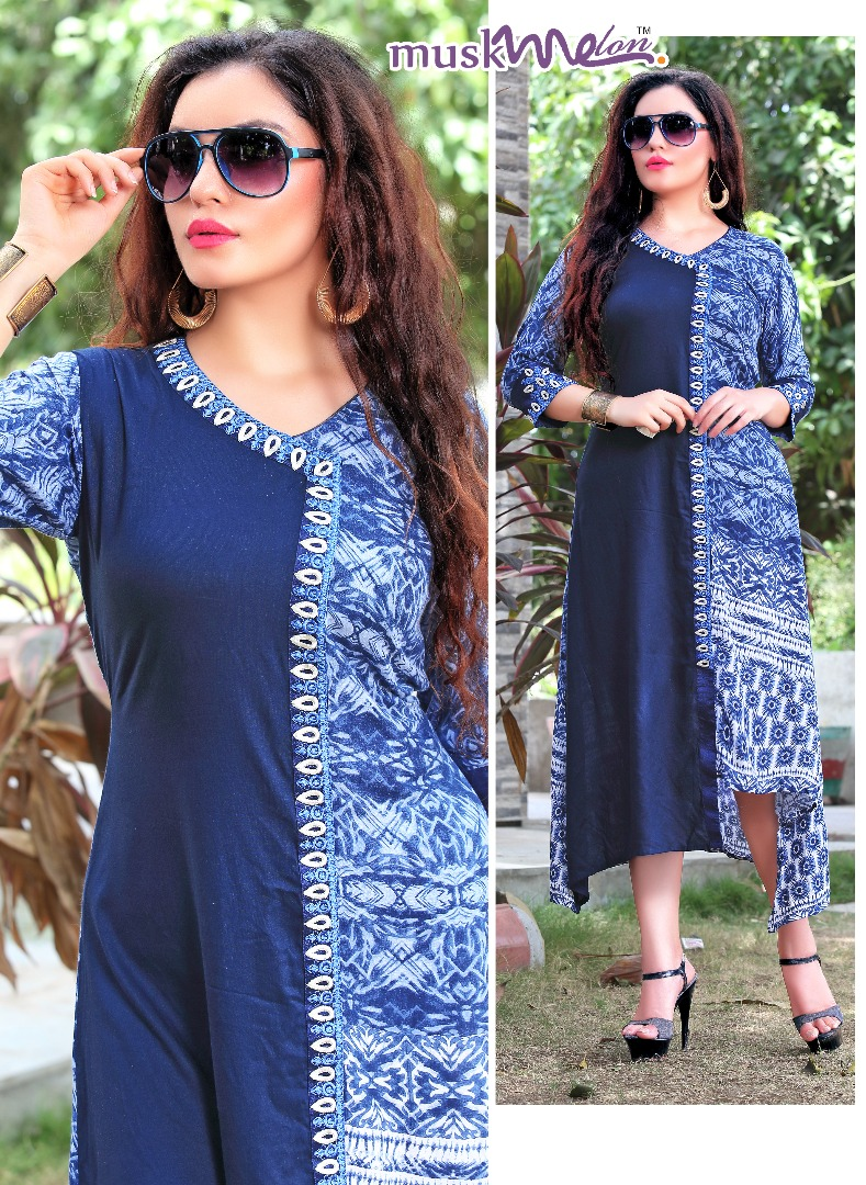 MOOD 101 TO 109 SERIES BY MUSK MELON BEAUTIFUL COLORFUL STYLISH FANCY PRETTY PARTY WEAR CASUAL WEAR OCCASIONAL WEAR PRINTED REYON KURTI AT WHOLESALE PRICE IN SURAT INDIA JPTEXTILES PRICE RS 501
