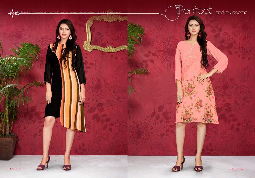 VINK FLAMINGO GEORGETTE PRINTED KURTIS FOR GIRLS AT BEST PRICE FROM SURAT WHOLESALER JPTEXTILES PRICE RS 570