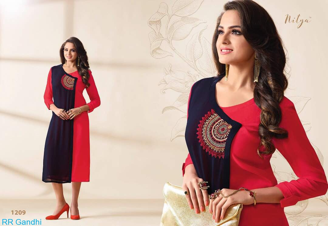 NITYA VOL 12 NX BY LT FABRICS GEORGETTE CLASSIC STYLE KURTI CATALOGUE IN SURAT INDIA JPTEXTILES PRICE RS 850