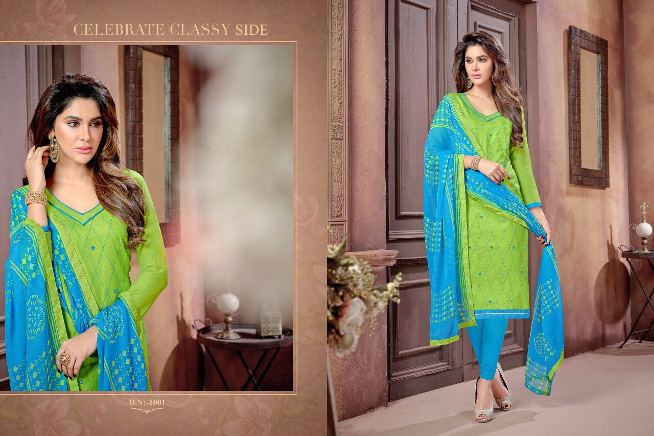 kite by smit creation designer wholesale printed cotton with mirror work chiffon dupatta dress material at wholesale rate